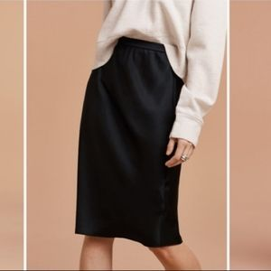 WILFRED Black Contexte Midi skirt Cupro L Aritzia
